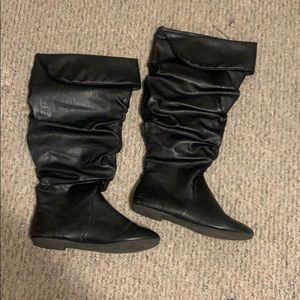Wide calf black faux leather boots